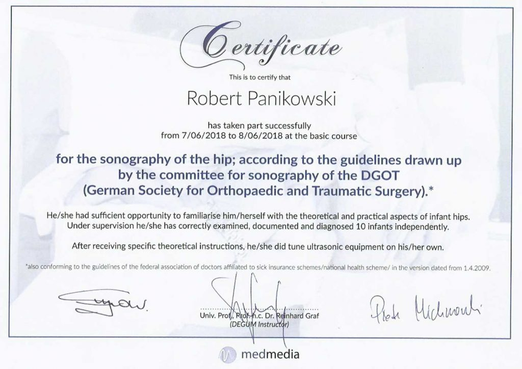 LEK MED ROBERT PANIKOWSKI For The Sonography Of The Hip According To The Guidelines Drawn Up By The Committee For Sonography Of The DGOT