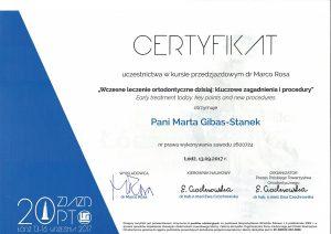 marta-gibas stanek-certyfikat-ortodontka